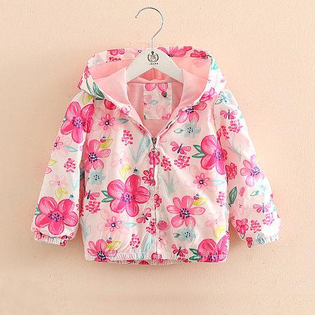 Allover Flower Print Hooded Outerwear