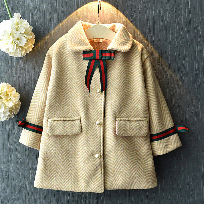 Turn-Down Collar Bowknot Thickened Coat