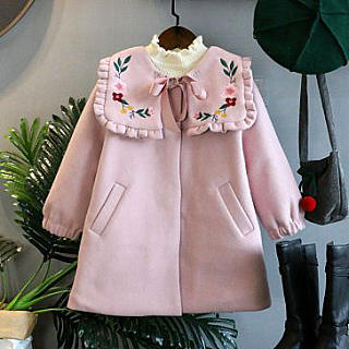 Flower Embroidered Self Tie Pink Coat