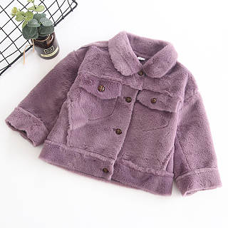 Turn-Down Collar Solid Color Coat