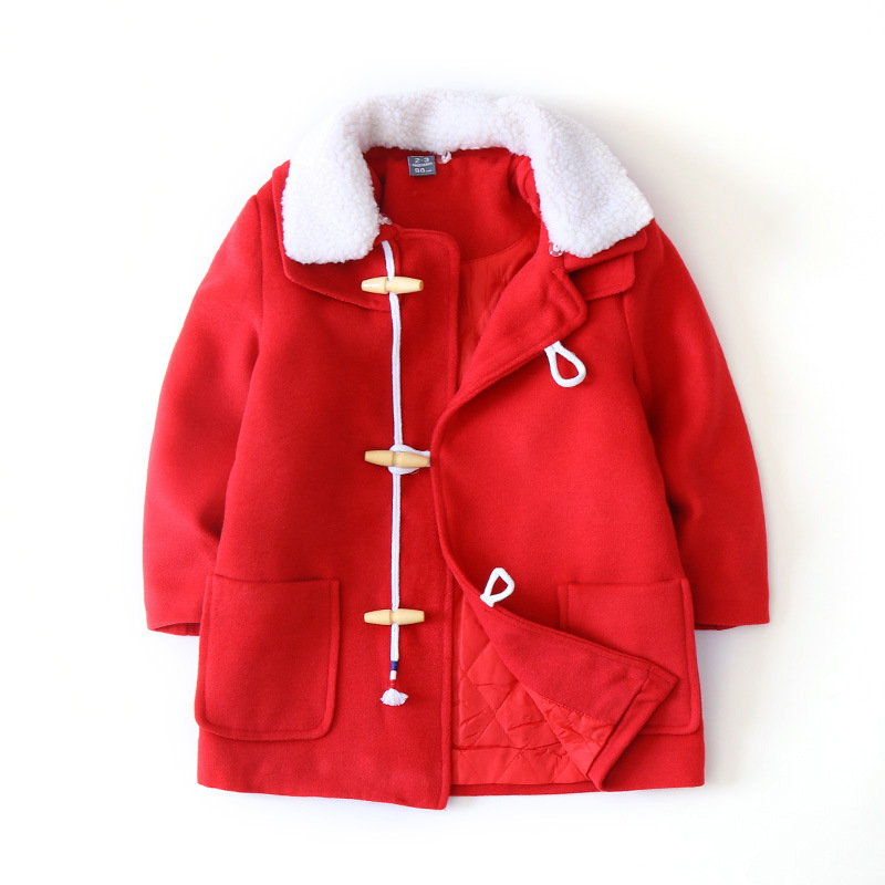 Pocket Turn-Down Collar Horn Buckle Coat