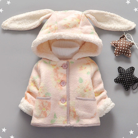 Adorable Plush Bunny Ears Outerwear