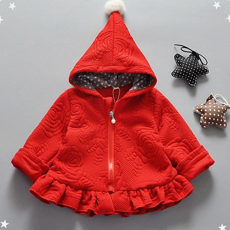 Adorable Pompon Embellished Frill Hem Outerwear