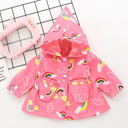 Rainbow And Cloud Pattern Hoodie Coat
