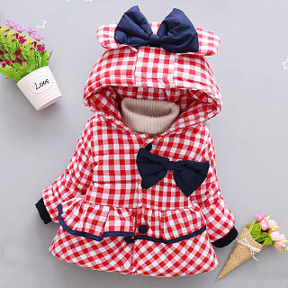 Plaid Bowknot Decorated Hooded Coat