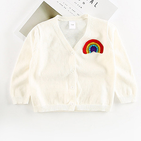 Knitted Rainbow Pattern Cardigan