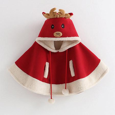 Cartoon Reindeer Pompon Embellished Cloak