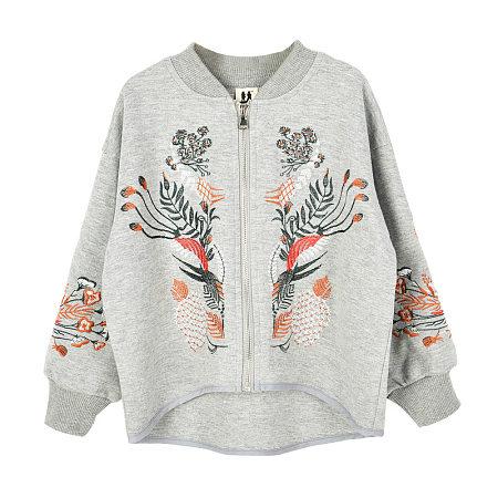 Embroidered Flower Sprig Zipper Coat