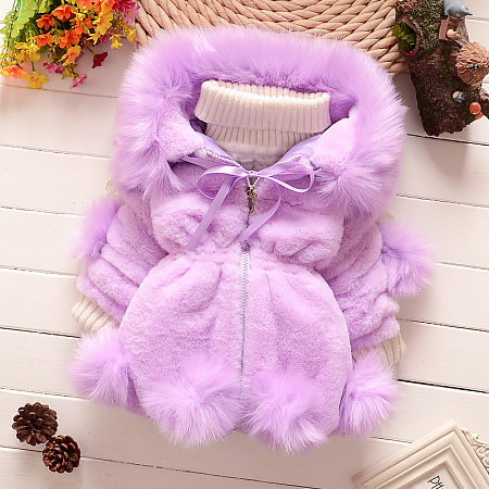 Plush Pompons Zip-Up Thickened Coat