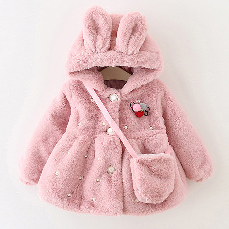 Pearl Embellished Bunny Ears Hooded Coat With Bag