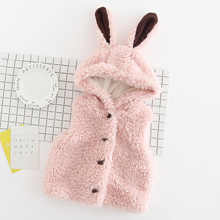 Bunny Ears Plush Hooded Waistcoat