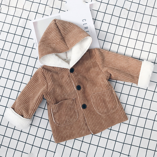 Corduroy Plush Hooded Outerwear