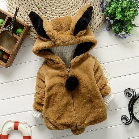 Cute Animal Style Plush Zipper Outerwear