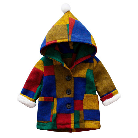 Contrast Color Plaid Hooded Coat