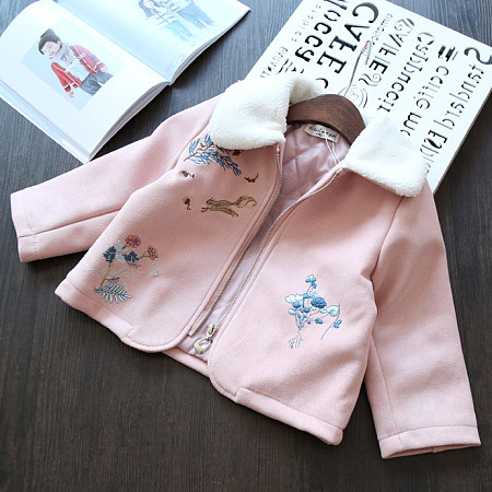 Artificial Wool Collar Embroidered Outerwear