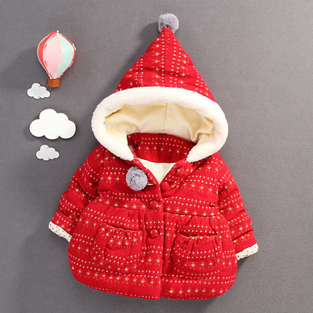 Pompons Embellished Thickened Hooded Outerwear