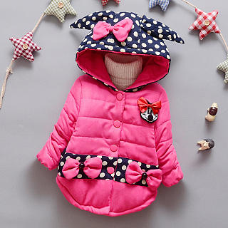 Cartoon Pattern Bowknot Thickened Outerwear