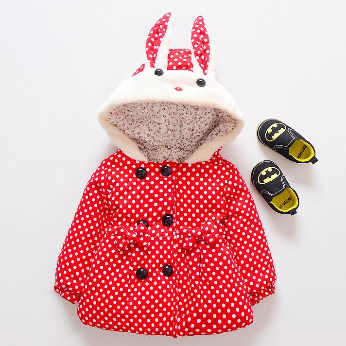 Cute Bunny Polka Dots Hooded Outerwear