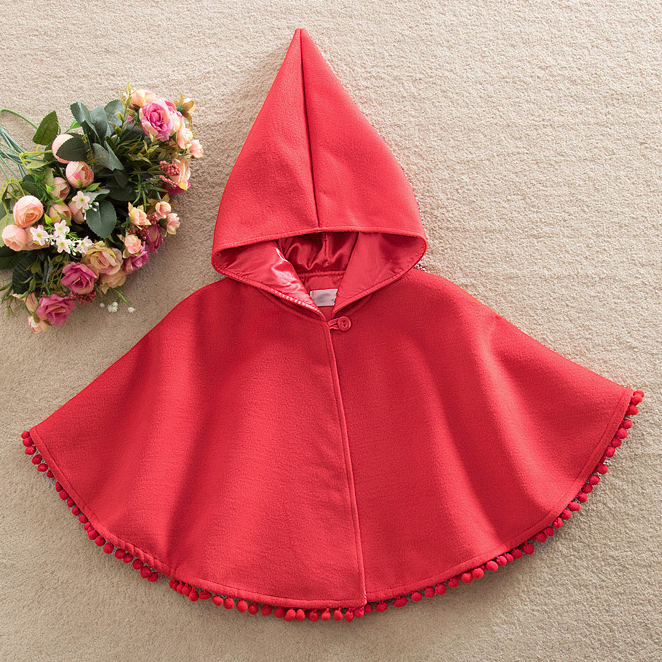 Red Hooded Wool Cloak