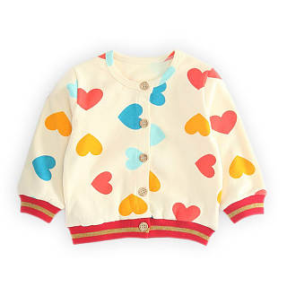 Color Block Heart Prints Outwear