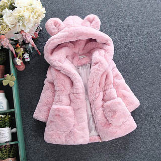 Cartoon Ear Hooded Solid Color Furry Coat