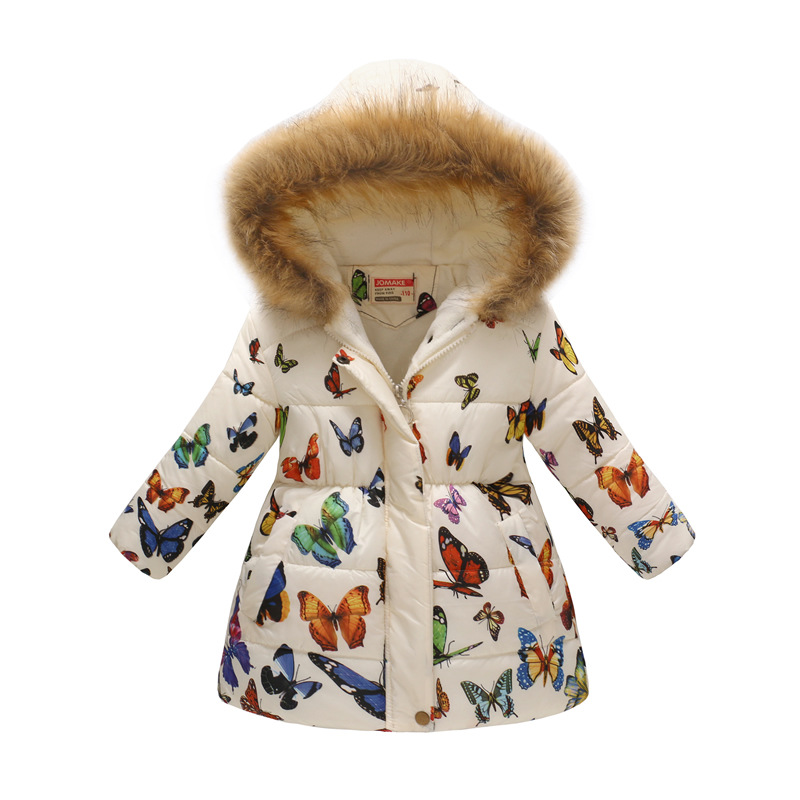 Butterfly Prints Plush Hat Hooded Coat