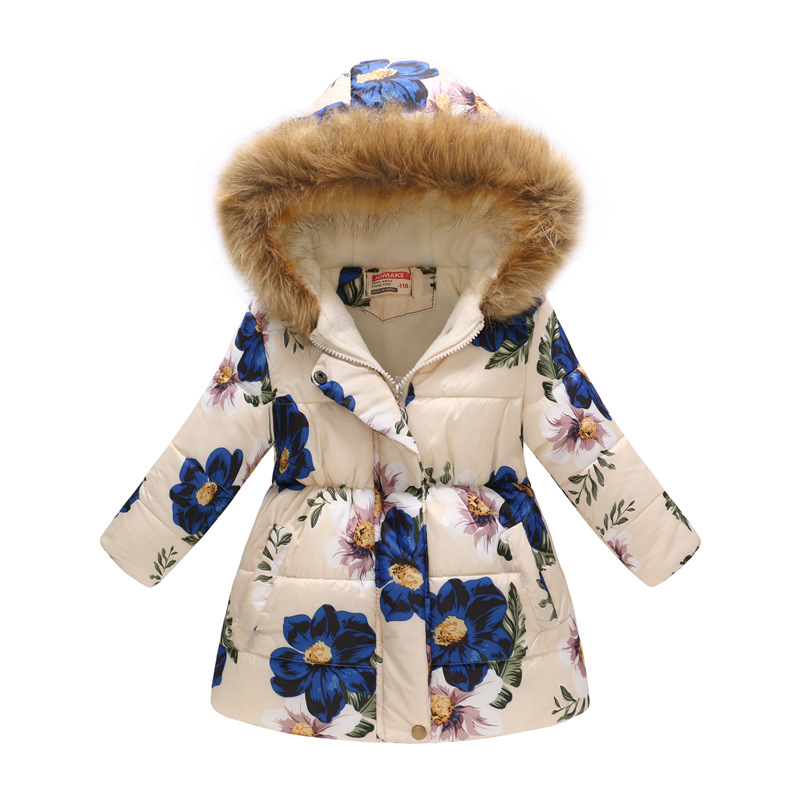 Flower Prints Plush Hat Hooded Coat