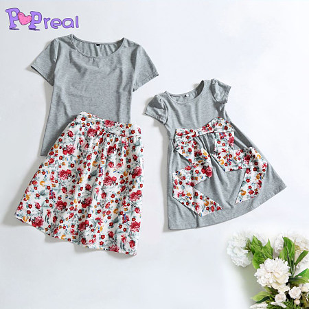 Mom Girl Floral Prints Outfits