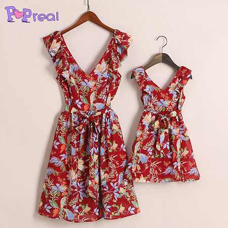 https://www.popreal.com/Products/mom-girl-floral-prints-fly-sleeve-v-neck-dress-3901.html?color=red