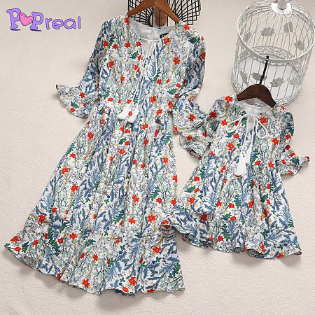 Mom Girl Floral Prints Lace-Up Dress