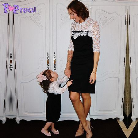 Mom Girl Elegant Contrast Floral Lace Bowknot Dress