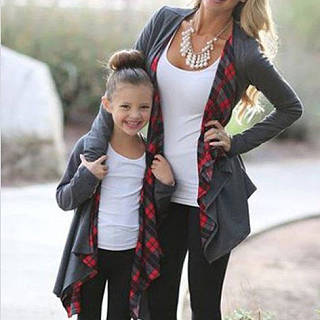 Mom Girl Plaid Knit Cardigan Matching Outerwear