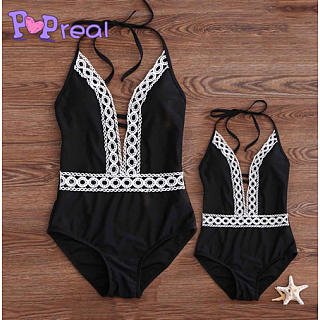 Mom Girl Lace Patchwork Halter One Piece  Matching Swimwear