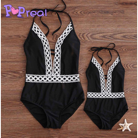fac99d2304e45 Mom Girl Lace Patchwork Halter One Piece Matching Swimwear - popreal.com