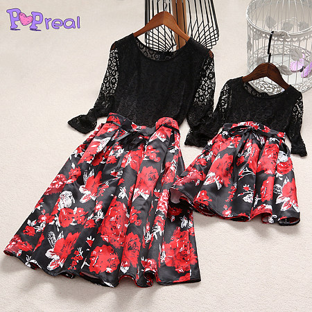 Mom Girl Lace Flower Prints Self Tie Matching Dress, 3984831