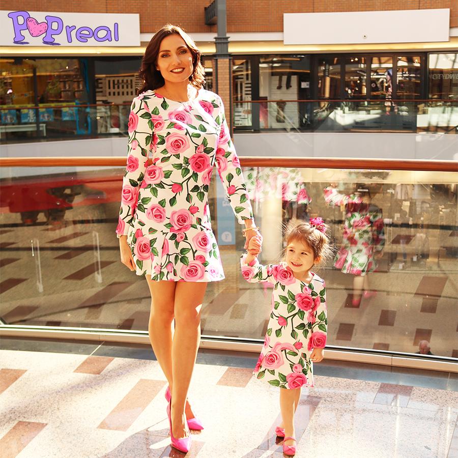 Mom Girl Rose Prints Frill Hem Matching Dress