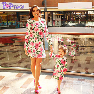 Mom Girl Rose Prints Frill Hem Matching Dress
