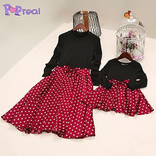 Mom Girl Polka Dots Bowknot Decorated Matching Dress