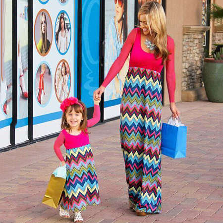 Mom Girl Wave Prints Color Block Ankle-Length Matching Dress