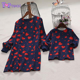 Mom Girl Heart Prints Zipper Back Matching Dress