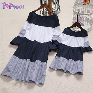 Mom Girl Stripes Color Block Trumpet Sleeve Matching Dress