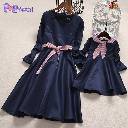 cc91c6042 Mom Girl Stripes Self Tie Pleated Matching Dress Only $11.24 - popreal.com