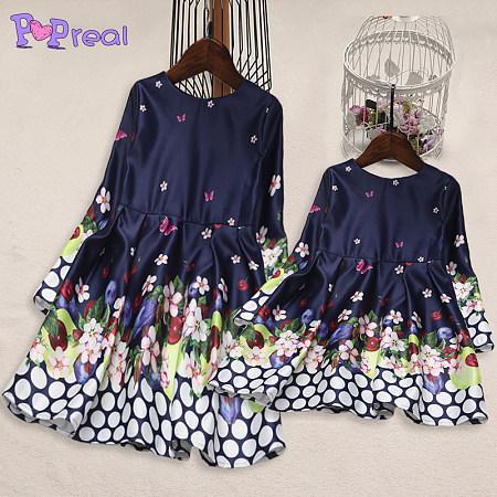 Mom Girl Flower Butterfly Prints Polka Dots Matching Dress