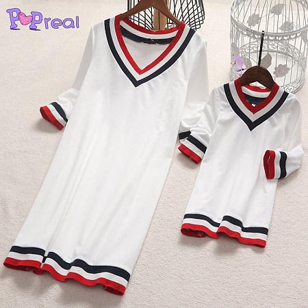 Mom Girl Stripes Color Block V-Neck Matching Dress