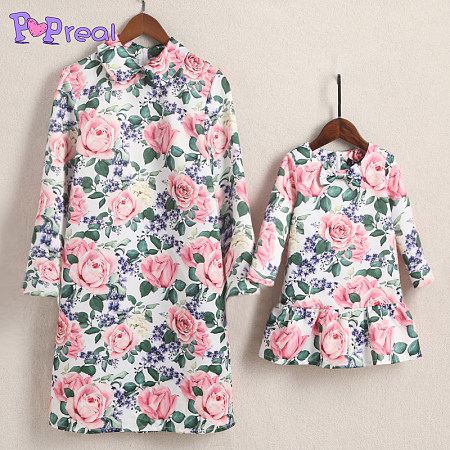 Mom Girl Roses Prints Zipper Back Matching Dress