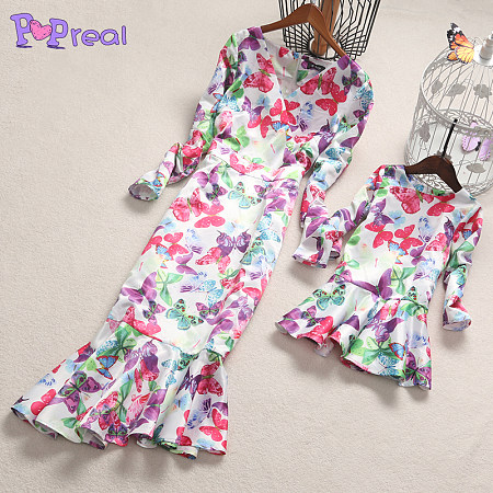 Mom Girl Butterfly Prints Frill Hem Matching Dress