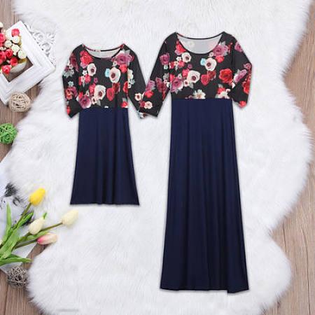 Mom Girl Flower Prints Color Block Ankle-Length Matching Dress