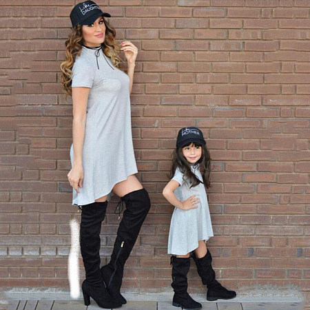 Buy Mom Girl Solid Gray Asymmetrical Pullover Matching Dress, gray, ML17112420 for $19.79 in Popreal store
