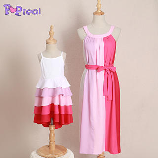 Mom Girl Color Block Asymmetrical Matching Dress