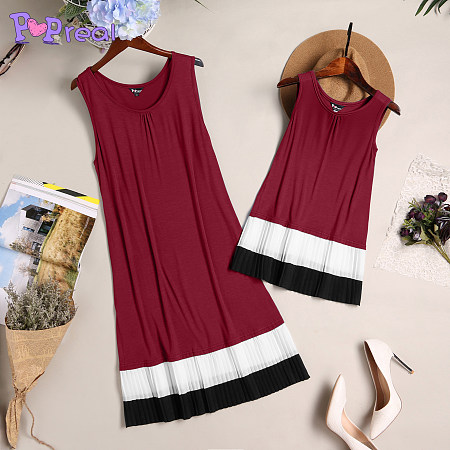 Mom Girl Stripes Patchwork Pullover Matching Dress